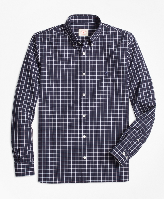 Windowpane Broadcloth Sport Shirt