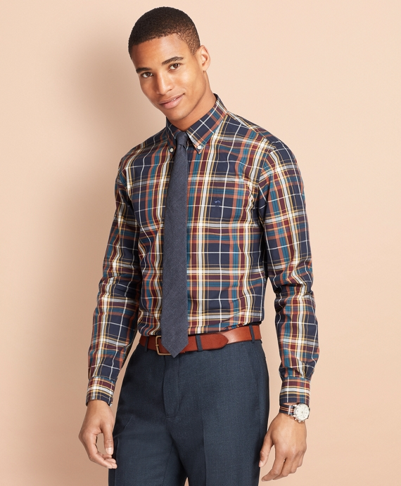 Plaid Broadcloth Sport Shirt Navy Multi