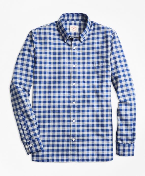 Gingham Brushed Twill Sport Shirt Navy