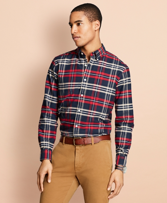 Yarn-Dyed Plaid Oxford Sport Shirt