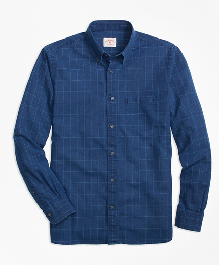 Windowpane Chambray Sport Shirt