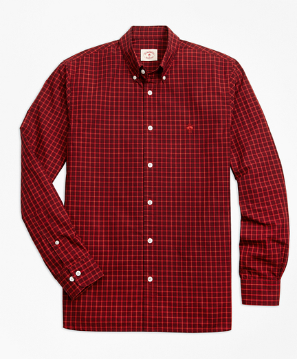 Yarn-Dyed Check Cotton Poplin Sport Shirt