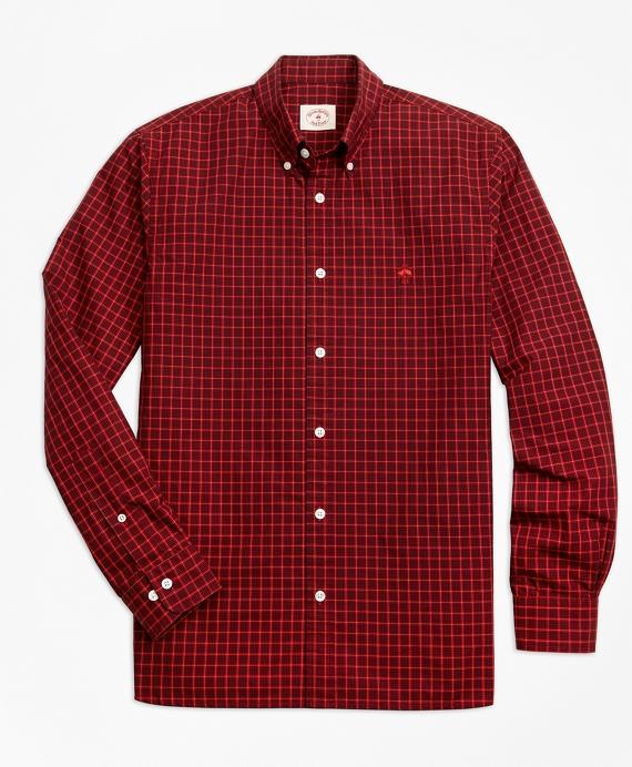 Yarn-Dyed Check Cotton Poplin Sport Shirt Red