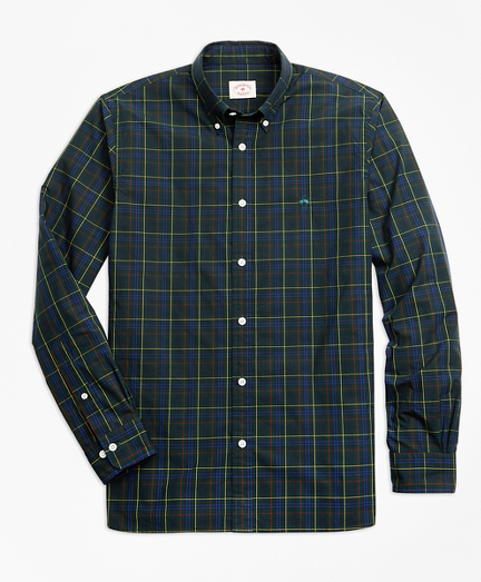 Yarn-Dyed Plaid Cotton Poplin Sport Shirt