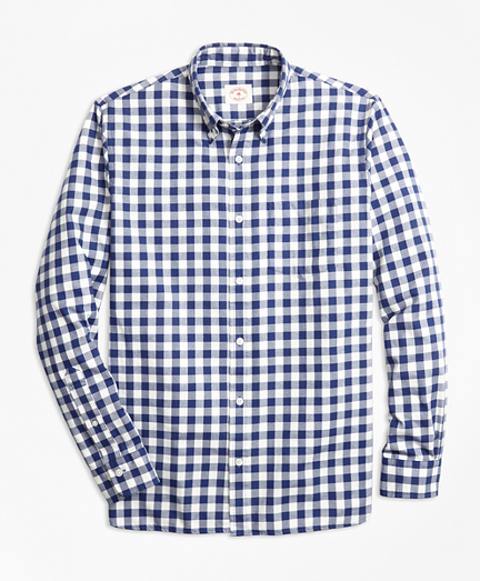 Gingham Brushed Cotton Flannel Sport Shirt