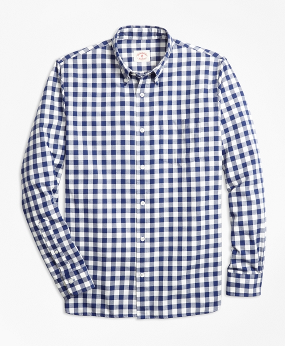 Gingham Brushed Cotton Flannel Sport Shirt Navy