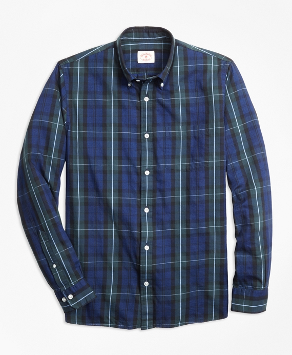 Indigo-Dyed Tartan Cotton Twill Sport Shirt