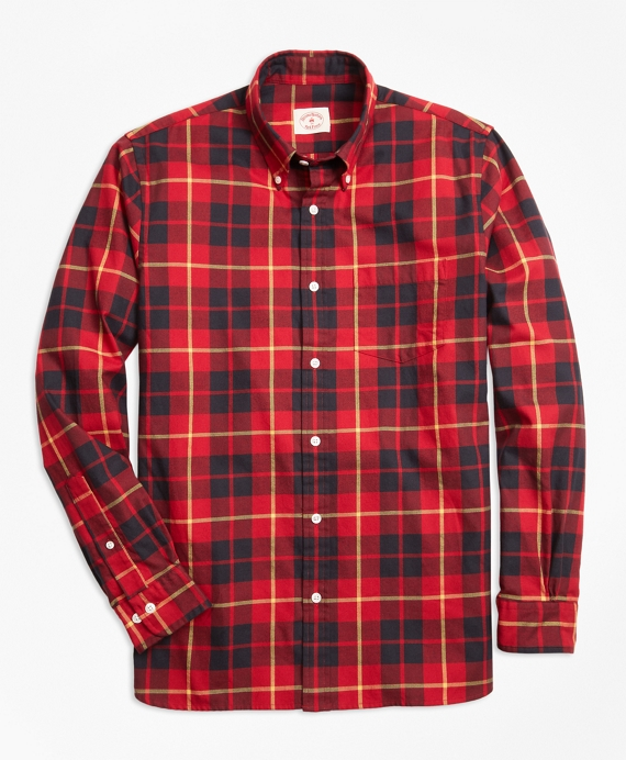 Tartan Cotton Flannel Sport Shirt Red-Black