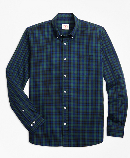 Black Watch Tartan Cotton Basketweave Oxford Sport Shirt