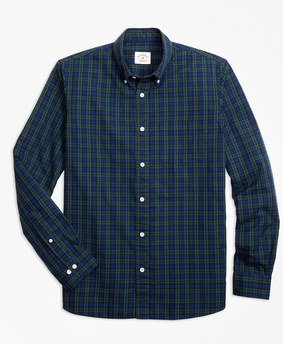 Black Watch Tartan Cotton Basketweave Oxford Sport Shirt Navy-Green