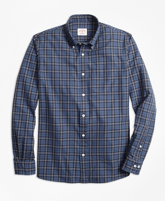 Tartan Cotton Basketweave Oxford Sport Shirt Blue