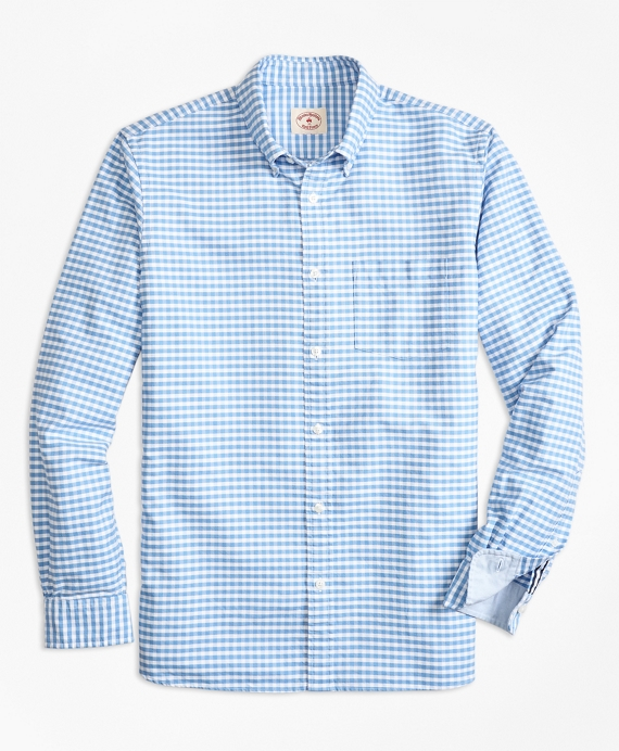 Gingham Cotton Oxford Sport Shirt Blue