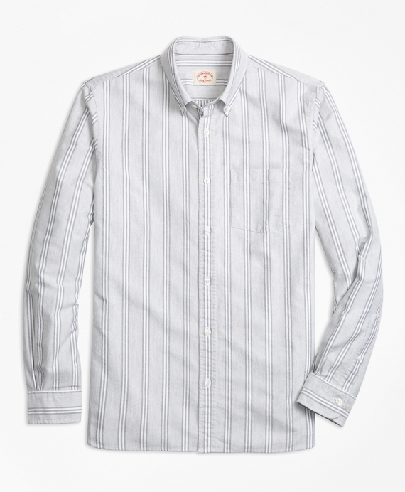 Stripe Supima® Cotton Oxford Sport Shirt Grey