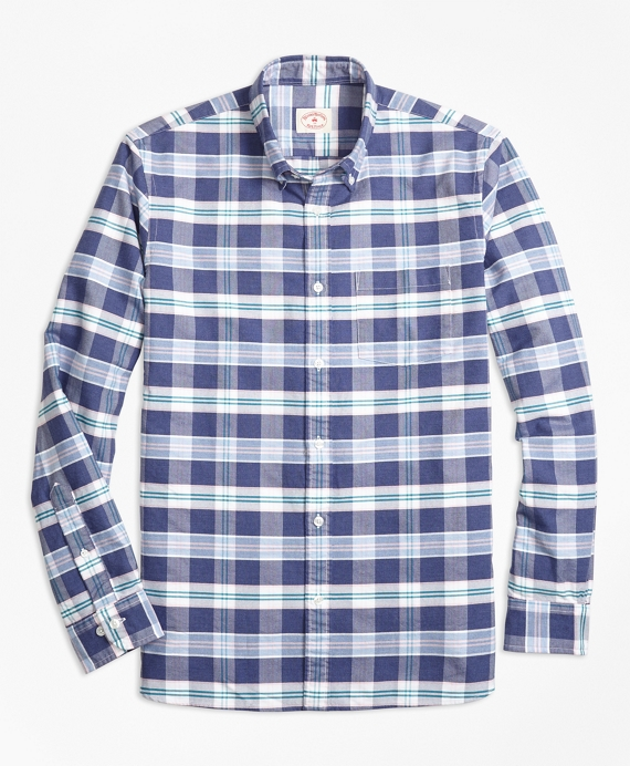 Plaid Supima® Cotton Oxford Sport Shirt Navy