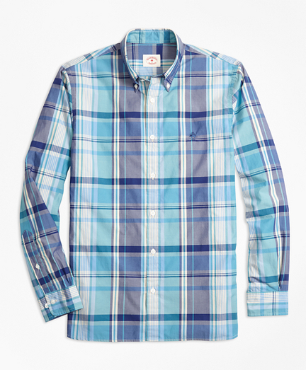 Madras Plaid Cotton Poplin Sport Shirt