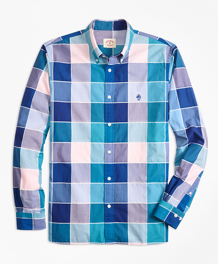 Windowpane Cotton Poplin Sport Shirt