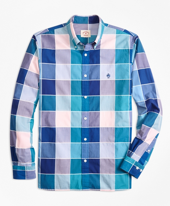 Windowpane Cotton Poplin Sport Shirt