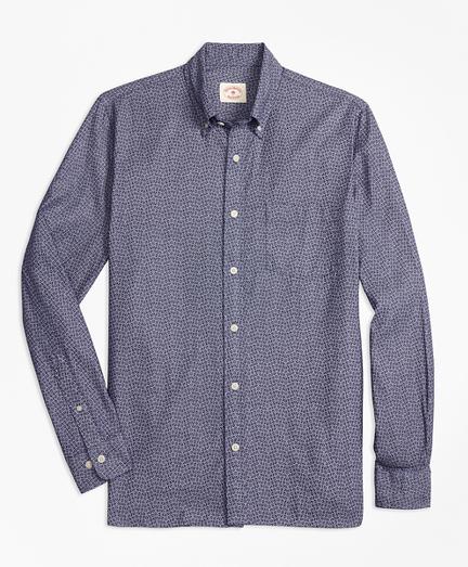 Indigo-Dyed Floral-Print Cotton Twill Sport Shirt