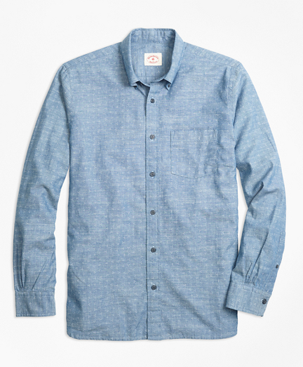 Dot-Print Cotton Chambray Sport Shirt