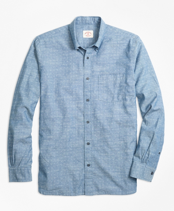Dot-Print Cotton Chambray Sport Shirt Chambray