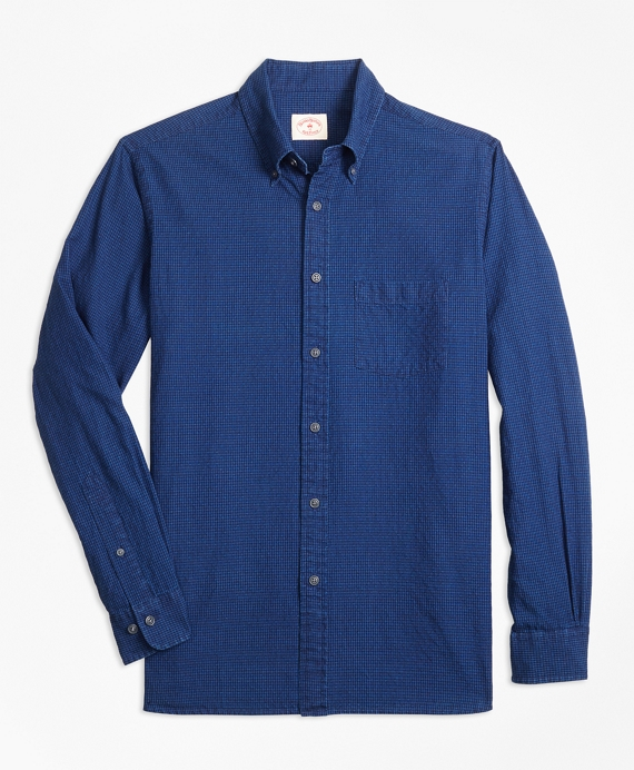 Micro-Gingham Cotton Dobby Sport Shirt Indigo
