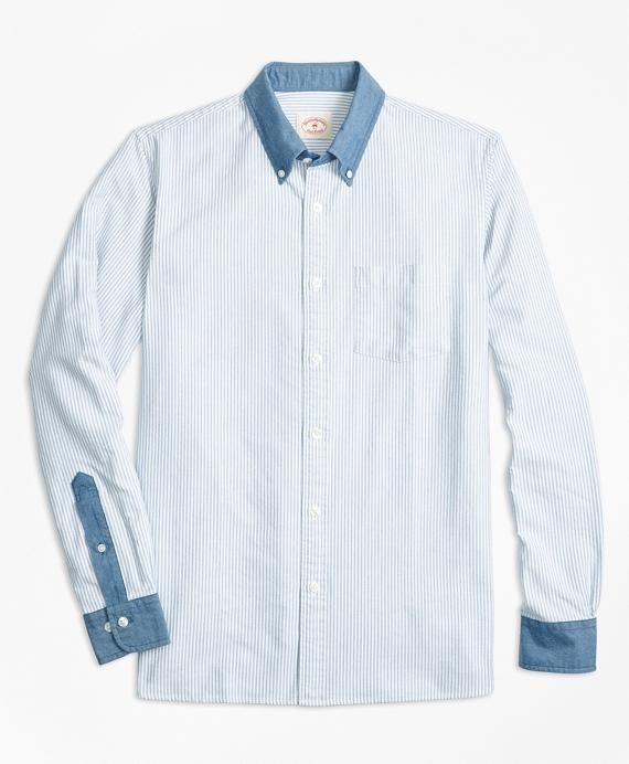Chambray-Trim Striped Cotton Oxford Sport Shirt