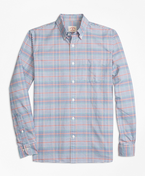 Plaid Cotton Oxford Sport Shirt Multi