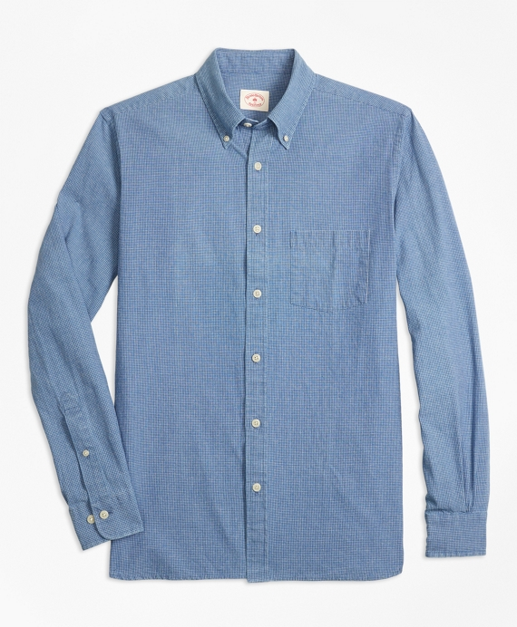 Indigo-Dyed Micro-Check Cotton Twill Sport Shirt