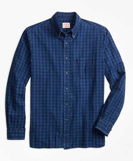 Indigo-Dyed Gingham Cotton Twill Sport Shirt