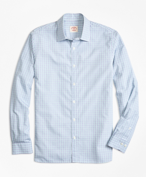 Check Nine-to-Nine Cotton Poplin Shirt Teal