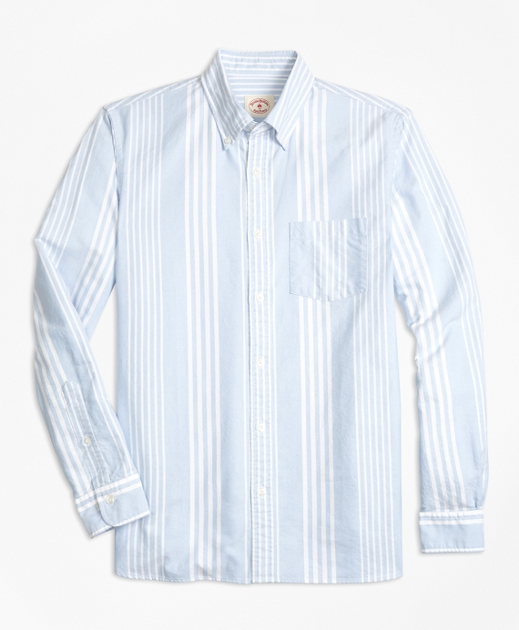 Awning-Stripe Supima® Cotton Oxford Sport Shirt Blue