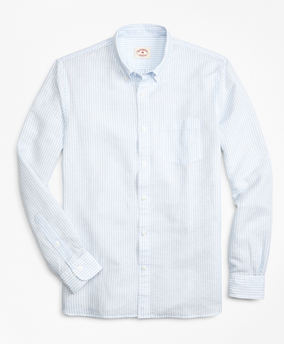 Striped Linen-Blend Sport Shirt Blue