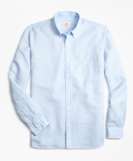 Micro-Gingham Linen-Blend Sport Shirt