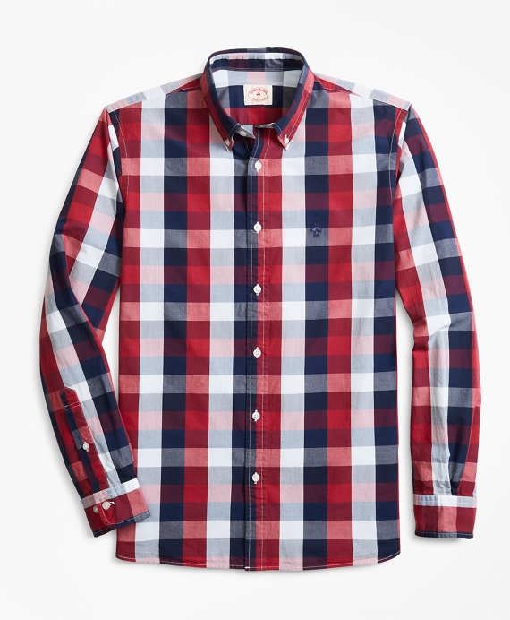 Indigo-Dyed Checked Cotton Broadcloth Sport Shirt Red-Blue