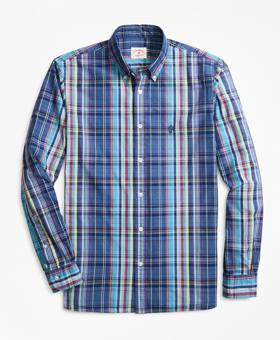 Indigo-Dyed Plaid Cotton Broadcloth Sport Shirt Multi