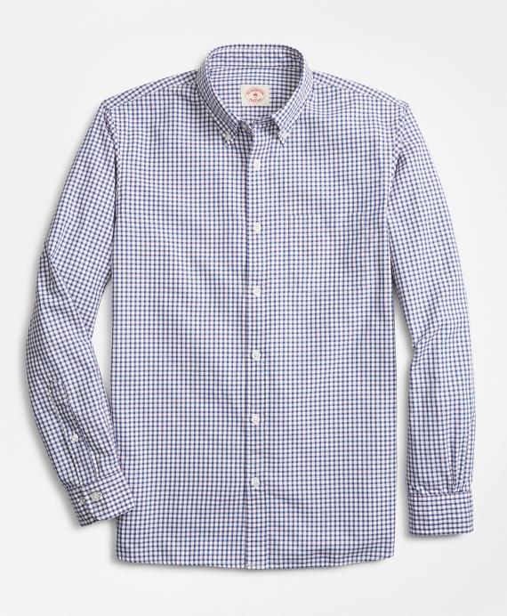 Checkered Cotton Basketweave Sport Shirt Blue