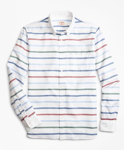 Breton-Striped Basketweave Sport Shirt