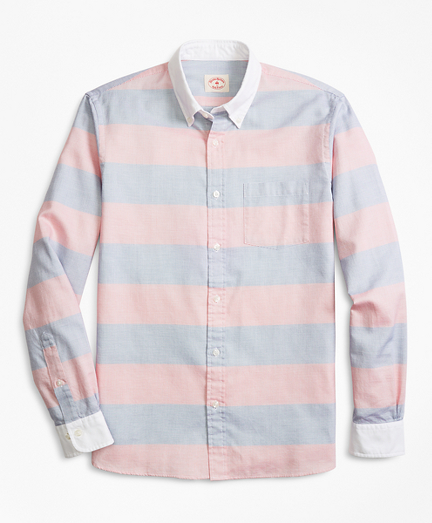 Bold Striped End-On-End Sport Shirt