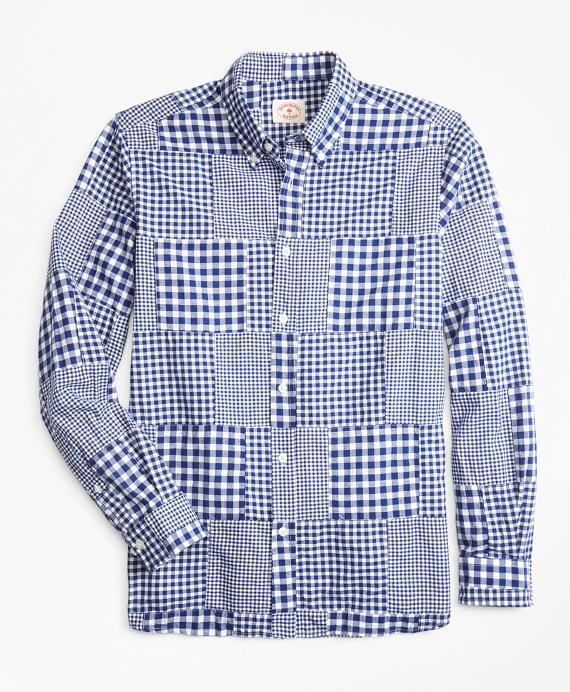 Gingham Patchwork Madras Sport Shirt Blue