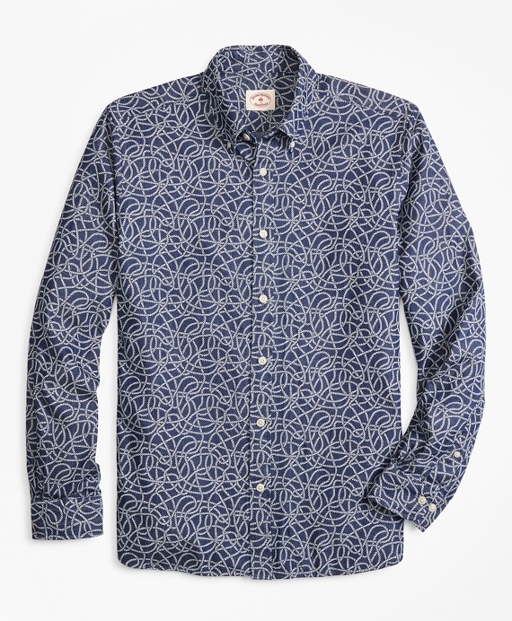 Rope-Print Denim Sport Shirt Indigo