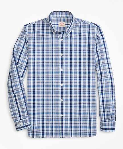 Plaid Seersucker Cotton Sport Shirt