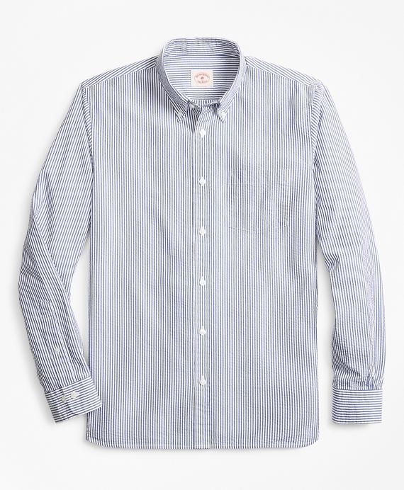 Striped Seersucker Cotton Sport Shirt