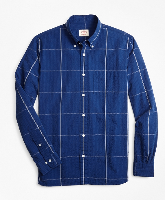 Windowpane Seersucker Sport Shirt Navy