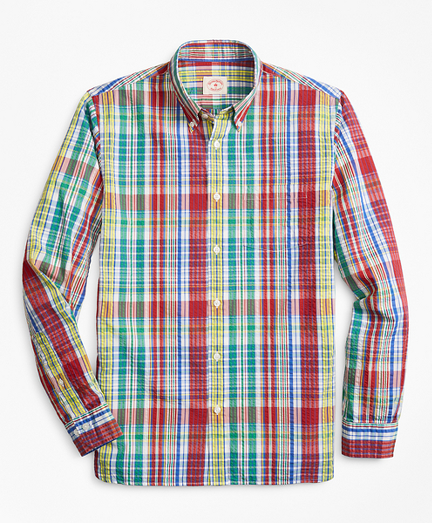 Multi-Plaid Seersucker Sport Shirt