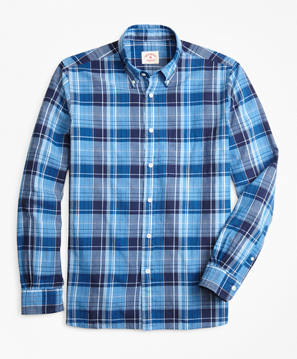 Indigo Plaid Madras Sport Shirt