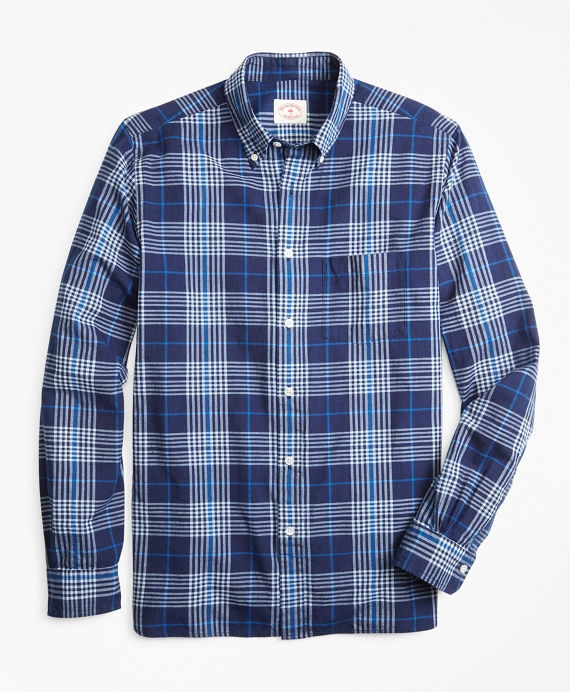 Indigo Plaid Madras Sport Shirt Navy