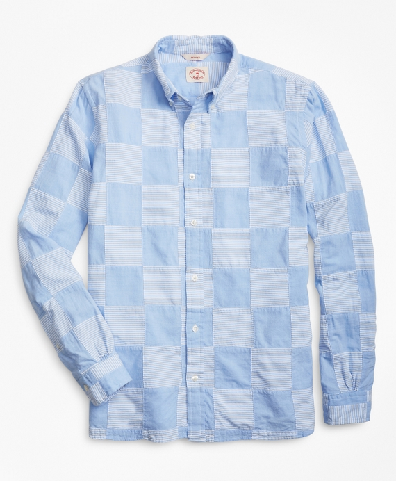 Chambray Patchwork Madras Sport Shirt Chambray