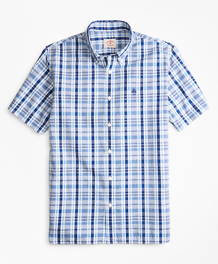 Plaid Seersucker Cotton Short-Sleeve Sport Shirt