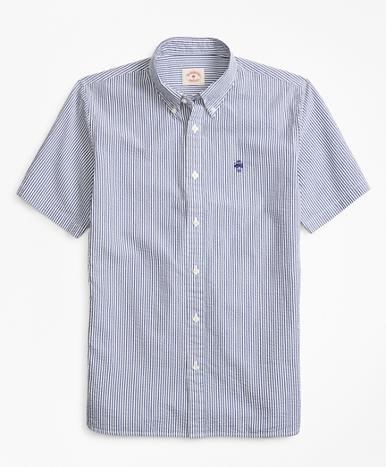 Striped Seersucker Cotton Short-Sleeve Sport Shirt