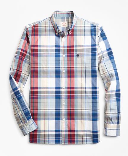 Plaid Yarn-Dyed Cotton Poplin Sport Shirt